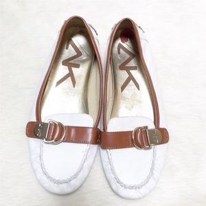 Anne Klein Sport White Leather Slip On Flat Loafer